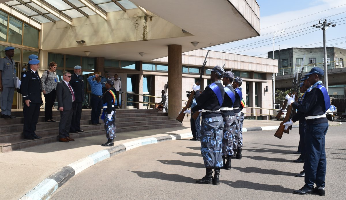 UN Assistant Secretary-General Alexandre Zouev salutation ceremony at Ethiopian Police Headquarters