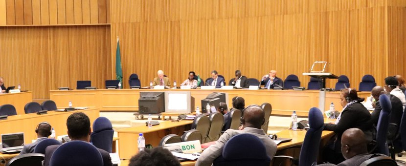 UNOAU Deputy Head of Office, Mr. Gerald Mitchell delivering the UN statement on behalf of SRSG Tetteh at the AU PSC session on climate change impacts on African Island states